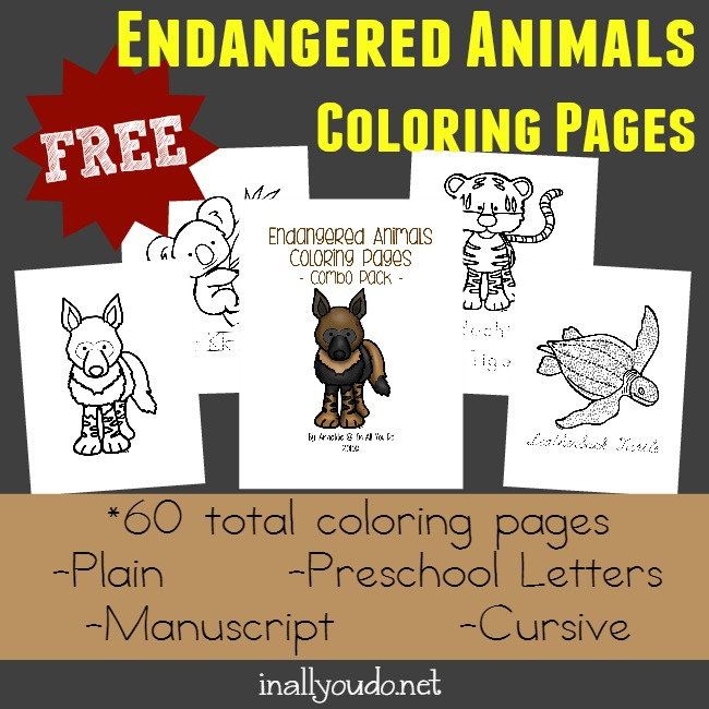 Endangered Animals Coloring Pages & Emergent Readers