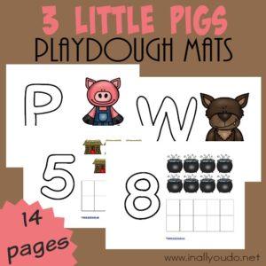 3 Little Pigs Playdough Mats ~ COLOR