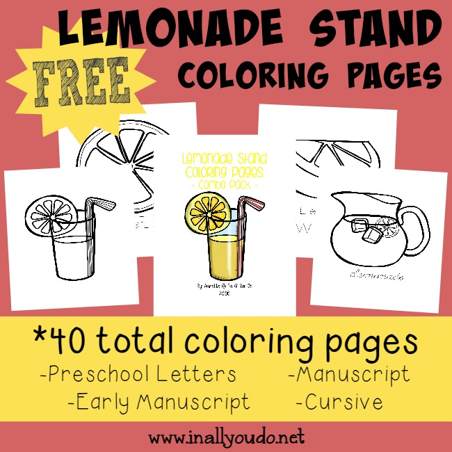 Summer Time means Lemonade Stands everywhere!! Grab these super cute and FREE Lemonade Stand Coloring Pages!! :: www.inallyoudo.net