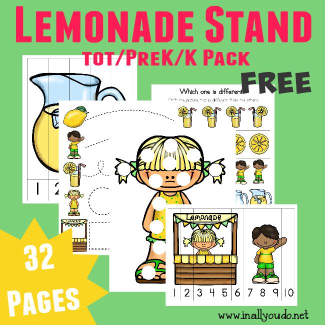 FREE Lemonade Stand Tot/PreK/K Pack {32 pages}
