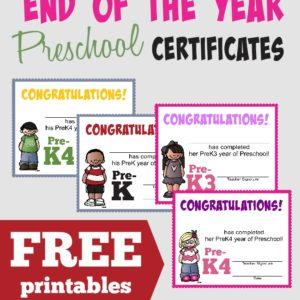 Celebrate the end of another Preschool Year with these SUPER CUTE Certificates!! Includes two styles for both boys and girls. :: www.inallyoudo.net