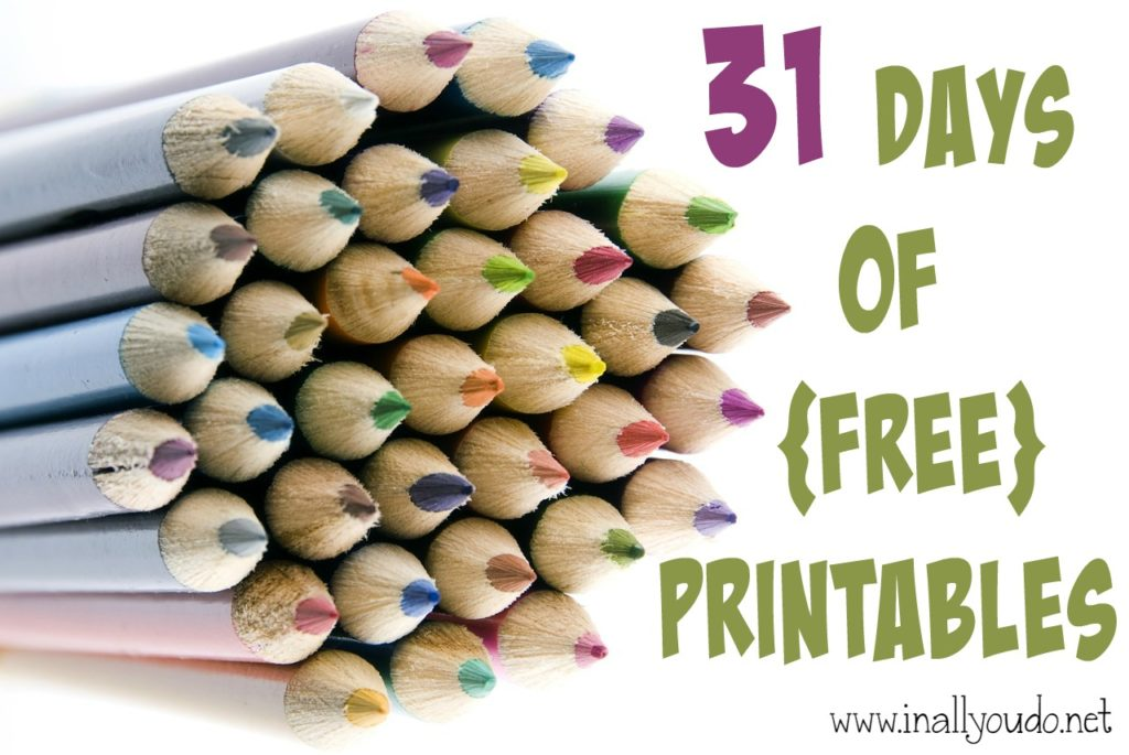 31 Days of FREE printables is COMING July 1-31, 2015!!! Stay tuned for more details and to see what inspiration I have to share! :: www.inallyoudo.net