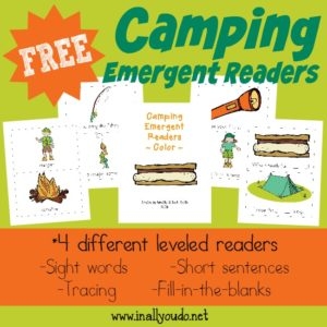 Does your family love camping? Grab these fun Camping themed Emergent Readers for the little ones in your home! {4 levels} :: www.inallyoudo.net