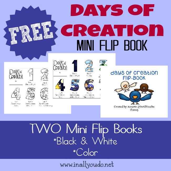 FREE Creation Mini Flip Books