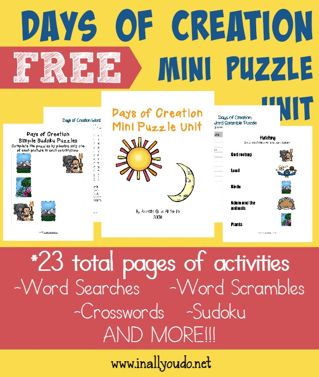 Free Days Of Creation Printables Writing Activities Puzzles