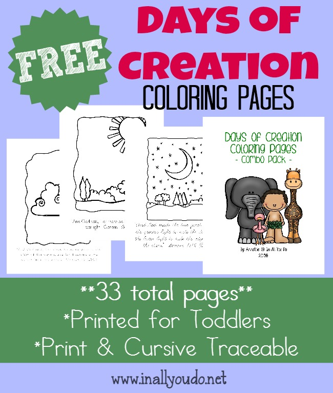FREE Days of Creation Coloring Pages MORE