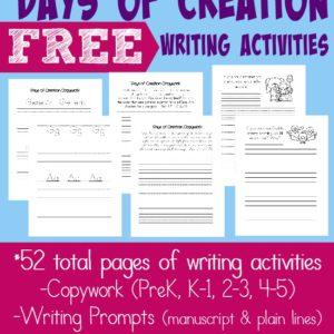 Kids will be excited to learn more and share about the Creation with these FREE Writing Activities. Includes 52 pages of copywork and writing prompts for PreK-5. :: www.inallyoudo.net