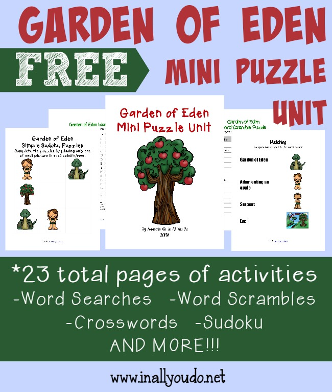 The Garden of Eden is an essential part of the Bible. Kids will enjoy learning more with these fun Garden of Eden Puzzles. {23 pages} :: www.inallyoudo.net
