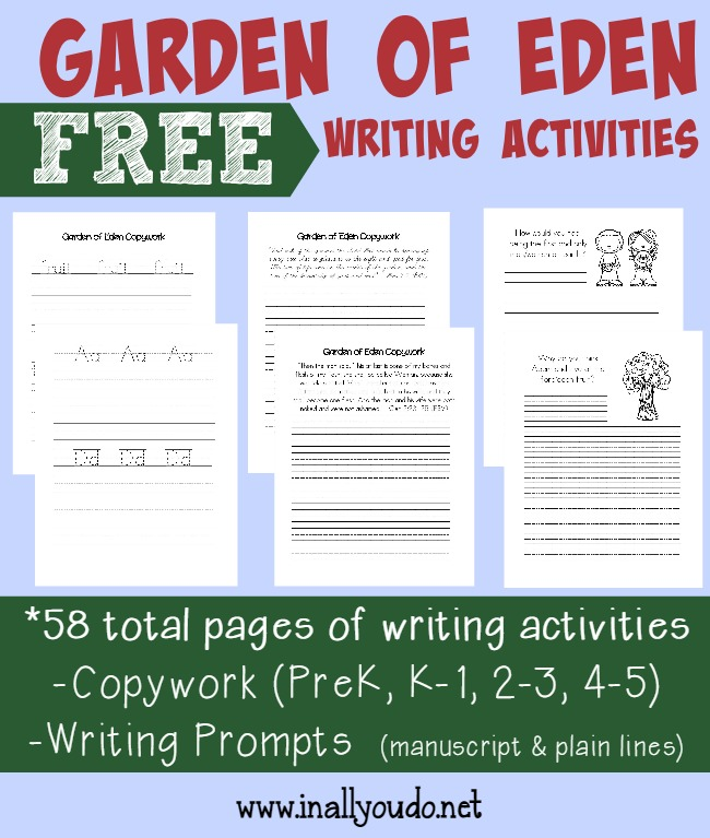 Help kids remember the Scriptures with these FUN Garden of Eden Writing Activities. {52 total pages} :: www.inallyoudo.net