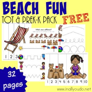 Taking a trip to the beach? Snag this SUPER FUN Tot & PreK-K Pack to get some learning in on the way! {32 total pages} :: www.inallyoudo.net