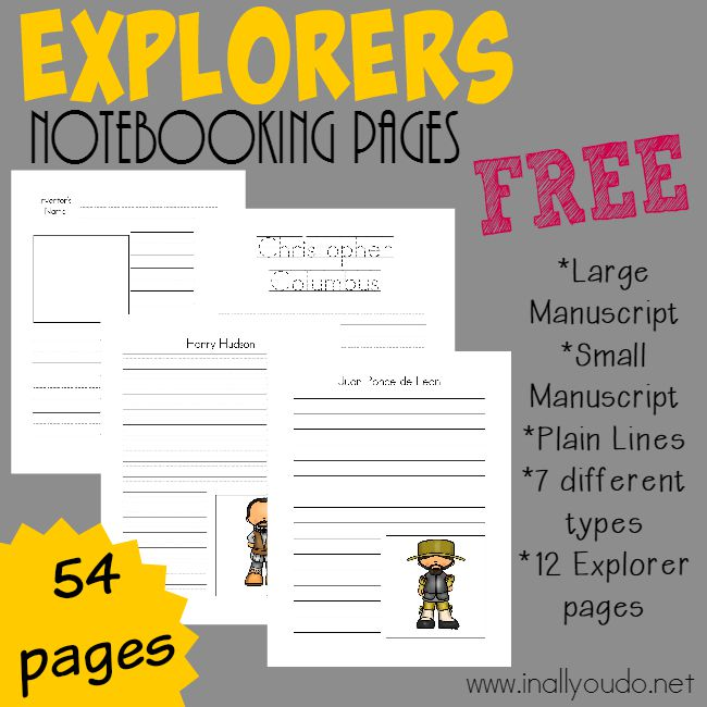 Help kids retain all they learn about these 12 explorers with these Notebooking Pages!! {54 total pages} :: www.inallyoudo.net