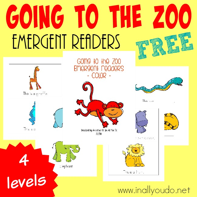 Taking a trip to the Zoo this year? Grab these SUPER CUTE Zoo Animals Emergent Readers for your little ones to practice their reading! {4 different levels} :: www.inallyoudo.net