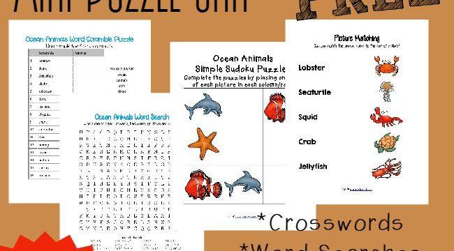 FREE Ocean Animals Mini Puzzle Unit