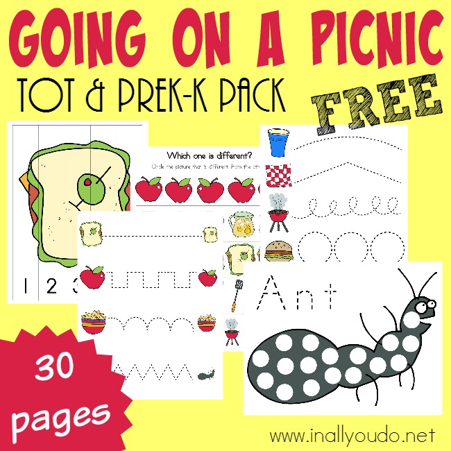 Little ones will have fun learning about picnics with these SUPER CUTE Picnic Tot & PreK-K pack activities! {30 total pages} :: inallyoudo.net