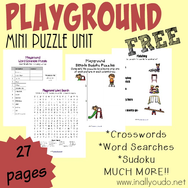 free playground puzzles activities pack - Free Playground Coloring Pages