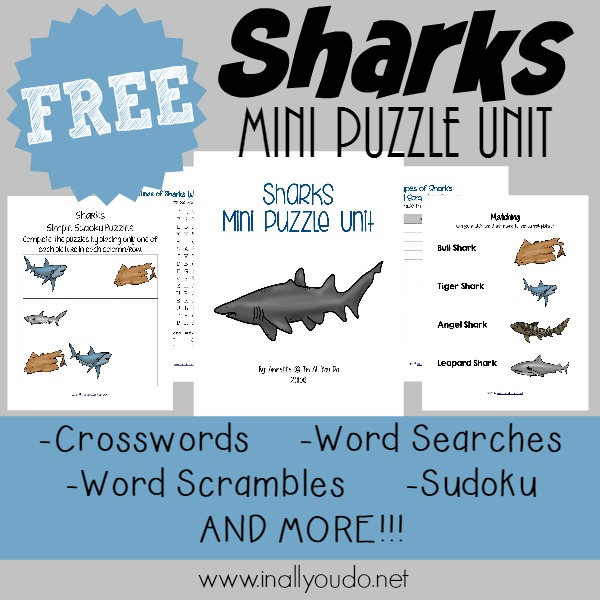 Learn more about 10 types of sharks with these FUN & FREE Shark Puzzles!! {28 total pages of activities} :: inallyoudo.net