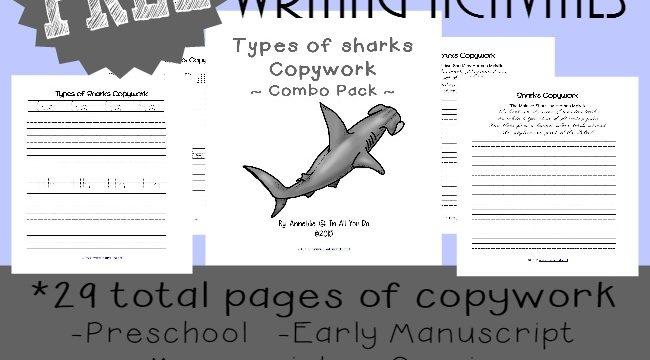 Shark Writing Prompts & Copywork {freebies}
