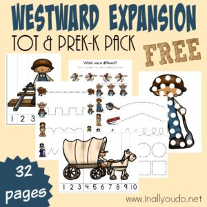 Get the little ones excited about learning with this Westward Expansion Tot & PreK-K Pack! Includes 32 pages of puzzles and activities. :: www.inallyoudo.net