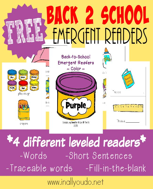 Little ones will enjoy their going Back-to-School reading with these SUPER CUTE Emergent Readers!! Available in 4 different levels. :: www.inallyoudo.net