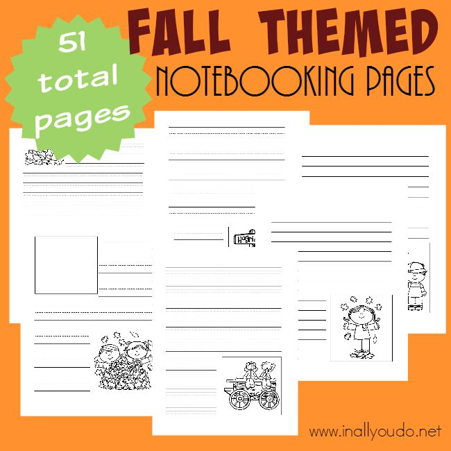 Notebooking is a great way to record findings from a nature walk, research or just to write what you know about a subject. Use these Fall themed Notebooking pages throughout the season for added learning! {51 total pages} :: www.inallyoudo.net
