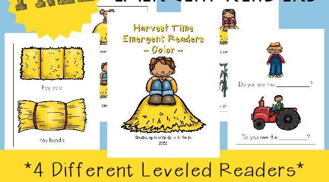 Harvest Time Emergent Readers {subscriber freebies}