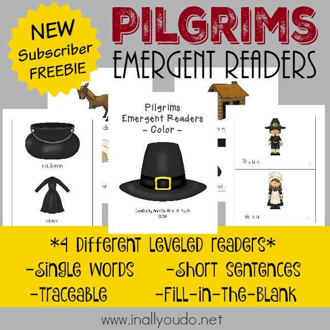 Pilgrims are a great study for kids around Thanksgiving. Grab these Emergent Readers for the young readers in your home or class. :: www.inallyoudo.net
