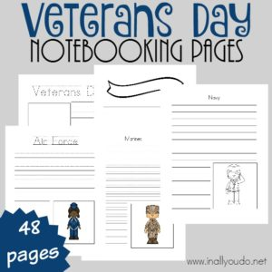 These Veterans Day Notebooking Pages are a great way to study different wars and the branches of the military. Notebooking is a great way to retain information learned. {48 total pages} :: www.inallyoudo.net