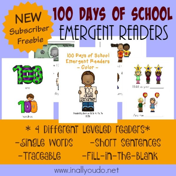 The 100th Day of School is cause for celebration! Little ones will love showing off their reading skills with these FUN Emergent Readers! {4 levels} :: www.inallyoudo.net