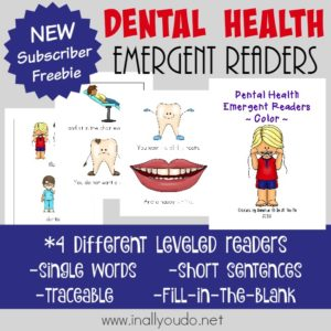 Dental Health is important and these SUPER CUTE Emergent Readers are perfect for your young readers! Available in FOUR levels. :: www.inallyoudo.net