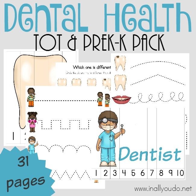 Teach even the youngest ones about proper Dental Health and how important it is with this FUN Tot & PreK-K Pack filled with puzzles & activities! {31 pages} :: www.inallyoudo.net