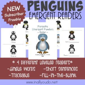 Little ones will enjoy learning more about the amazing and fascinating Penguins with these Emergent Readers. Available in FOUR different levels for young readers! :: www.inallyoudo.net