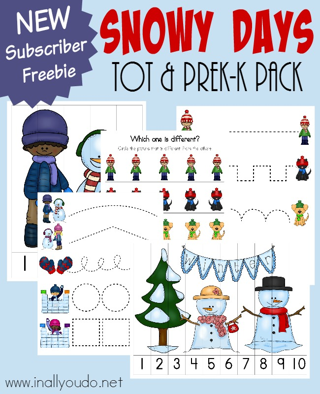 Snow is coming...at least in some parts of the world. Little ones will LOVE learning and practicing their skills with this FUN Snowy Days Tot & PreK-K Pack! :: www.inallyoudo.net