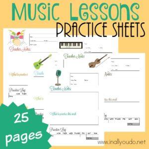 TEACHERS - Music Lesson Practice Sheets