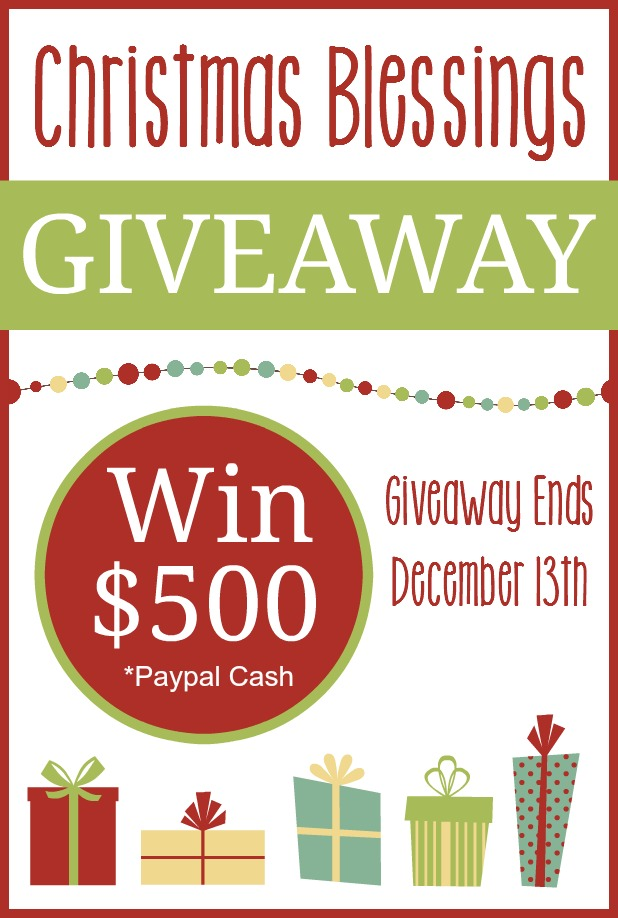 Christmas is a time of giving and blessings. This year I'm teaming up with 25 bloggers to bless one lucky family with $500 in Paypal Cash!! HURRY...giveaway ends 12/13/15 at 11:59pm EST. :: www.inallyoudo.net