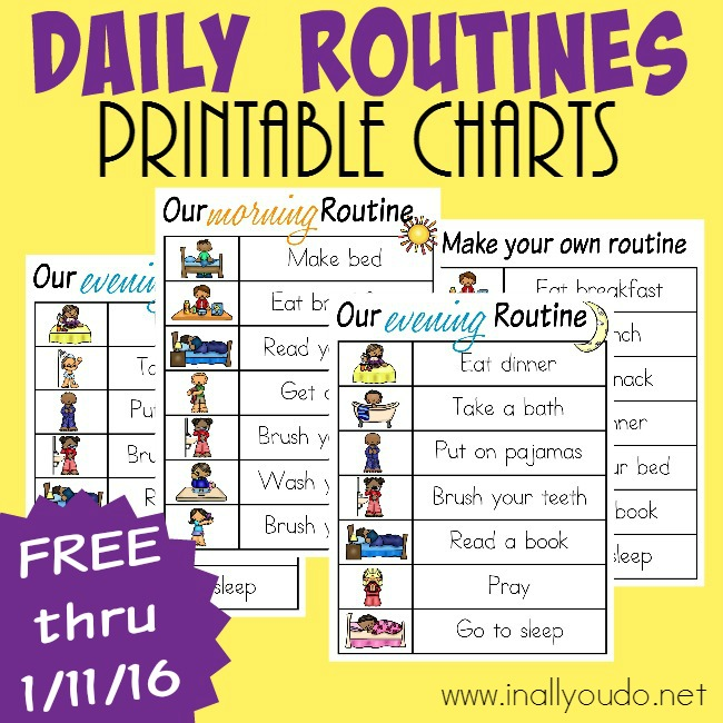 LIMITED TIME FREEBIE: Daily Routines Printable Charts