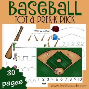 Your little ones will LOVE learning about baseball with this fun Tot & PreK-K Pack. {30 pages} :: www.inallyoudo.net