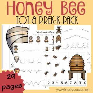Little ones will have fun learning about these fascinating creatures, the Honey Bee, through puzzles and activities just for them. {29 pages} :: www.inallyoudo.net