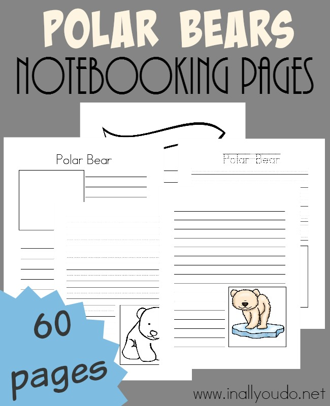 Record all you know and learn from your research about Polar Bears with the ADORABLE Notebooking Pages! {60 total pages} :: www.inallyoudo.net