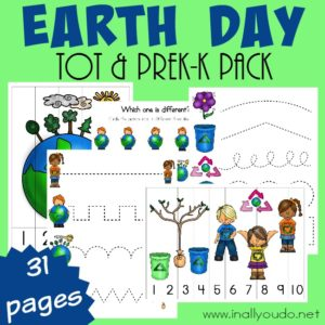 Help the little ones celebrate Earth Day on April 22, with this fun-filled Tot & PreK-K Pack! {31 total pages} :: www.inallyoudo.net