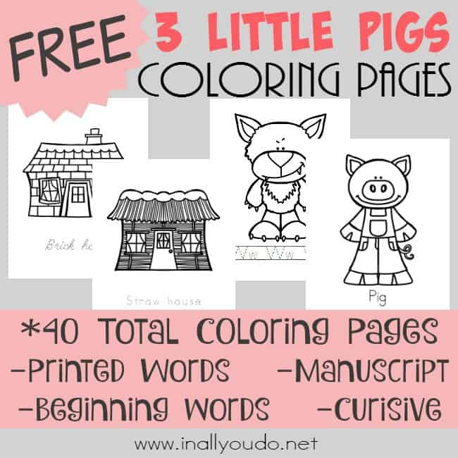 3 Little Pigs Coloring Pages square1