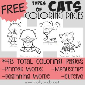 Whether you like cats or are studying mammals, these Types of Cats Coloring Pages are PERFECT for your learners! Includes 48 total pages. :: www.inallyoudo.net