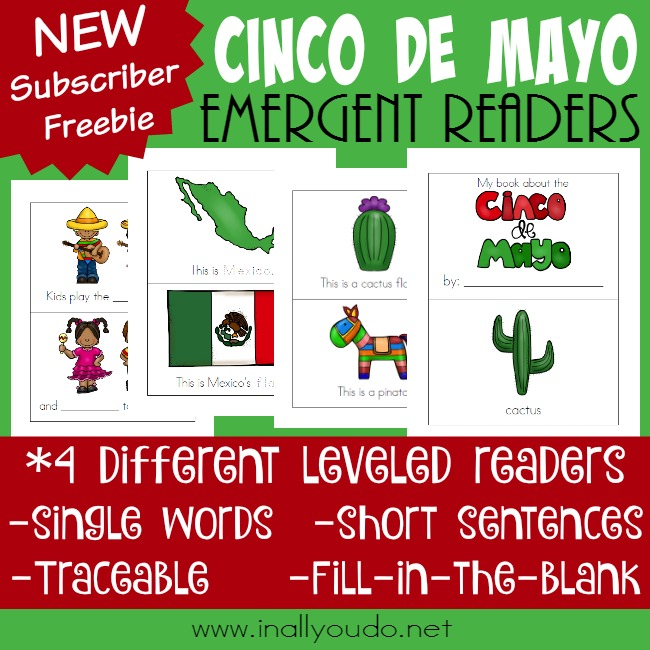 Cinco de Mayo is May 5th. These super FUN Emergent Readers are perfect for your littles ones to practice reading while learning! :: www.inallyoudo.net