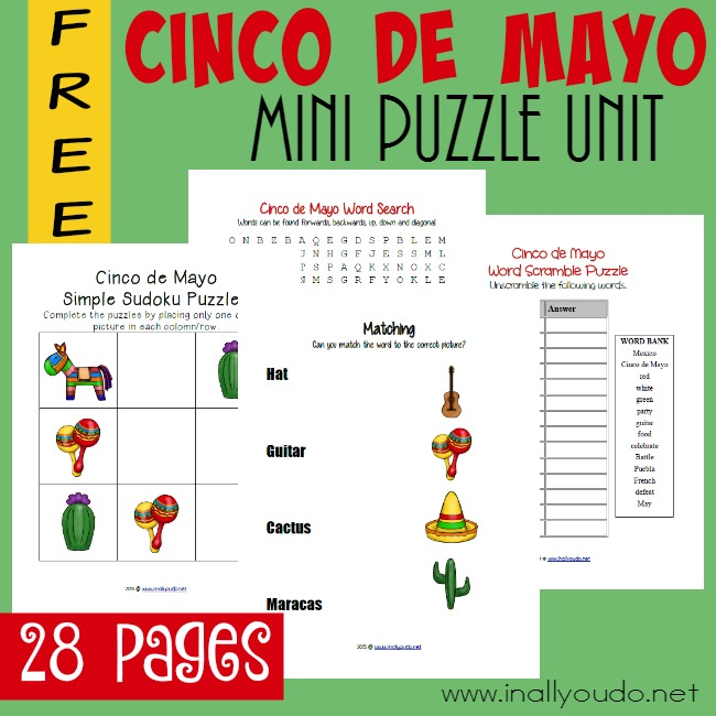 Kids, ages PreK-5th, will enjoy these Cinco de Mayo as they learn more about the history of May 5th in Mexico. Includes 28 pages of puzzles & activities. :: www.inallyoudo.net