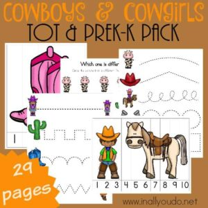 Little ones who love to play Cowboys & Cowgirls will enjoy this fun Tot & PreK-K pack filled with puzzles, prewriting practice and more activities! :: www.inallyoudo.net