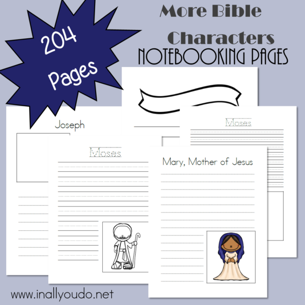 Studying different Bible characters is a great way to learn more about God's Word and work on handwriting. Download this HUGE pack of Notebooking Pages for 12 MORE Bible Characters today! :: www.inallyoudo.net