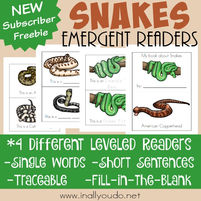 Types of Snakes Emergent Readers