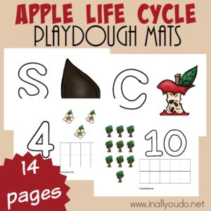 Playdough mats are a great multi-sensory activity for kids. These Apple Life Cycle mats are perfect for your little ones working on letter recognition as well as counting to 10! :: www.inallyoudo.net