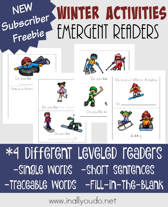 Little ones will love these super fun Winter Activities Emergent Readers. Available in 4 different levels for PreK-2nd grade. :: www.inallyoudo.net