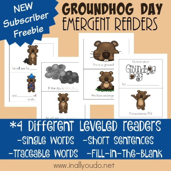 Groundhog Day is such a fun holiday. Little ones will love reading through these fun Emergent Readers as they wait to see if winter sticks around or if spring is on its way! :: www.inallyoudo.net
