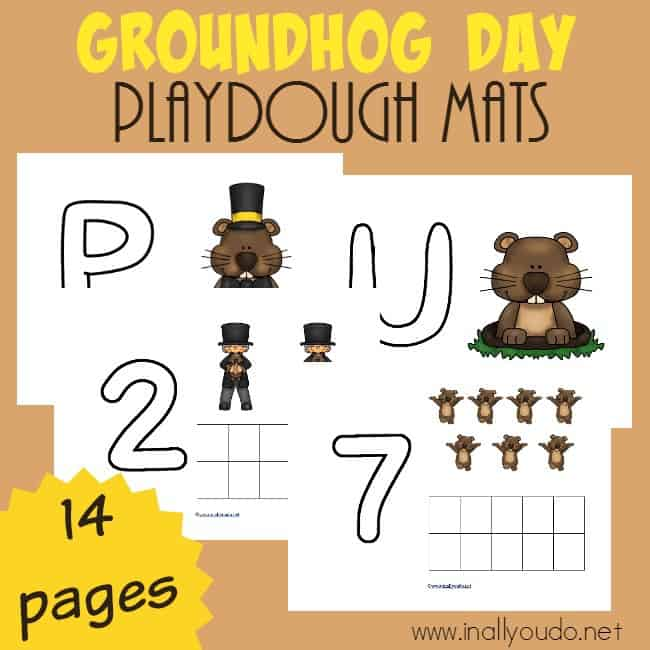 These Groundhog Day Playdough Mats are perfect for your little ones to work on their fine motor skills while working at their level. Download them today on the blog! :: www.inallyoudo.net